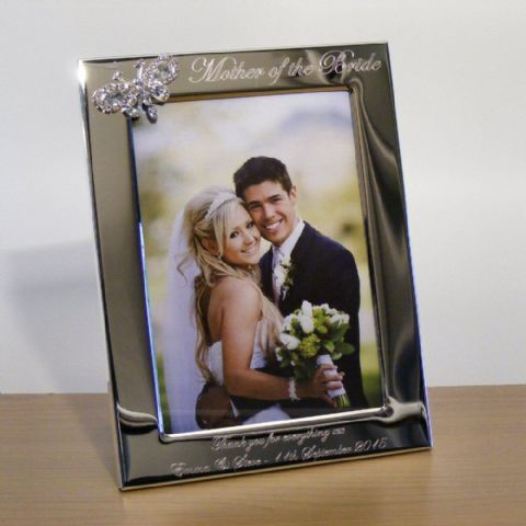 Crystal Butterfly Photo Frame Personalised Mother of the Bride Gift